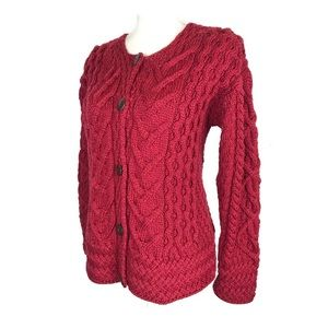 Carraig Donn Cardigan Red Merino Wool Cable Knit